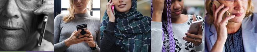 5 different women using telephones