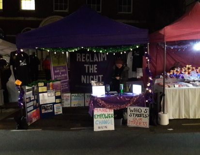 Reclaim the Night event - Totnes market stall